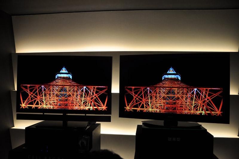 55X1(左)と55ZX8000(右)の比較