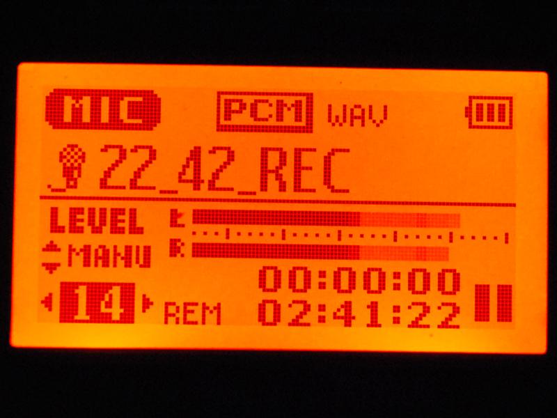 録音時はレベルメーターも動作する