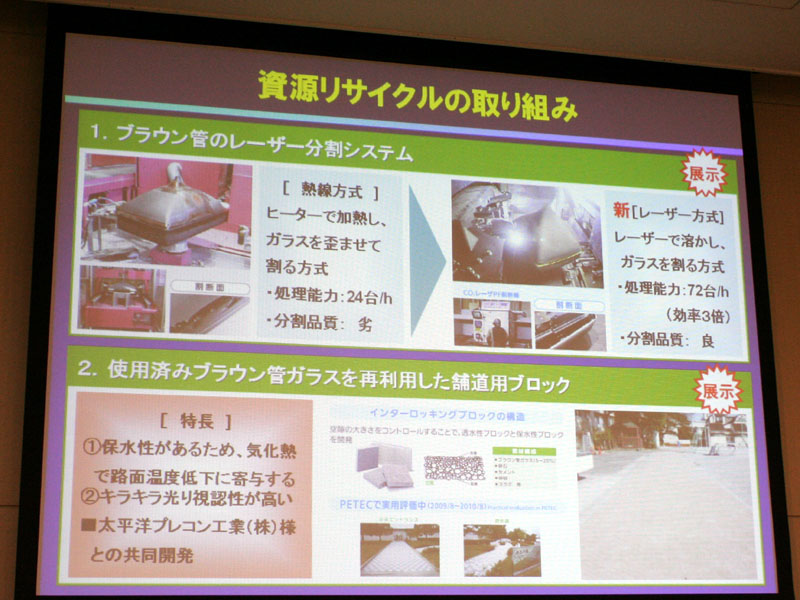 ブラウン管のリサイクル技術も展示