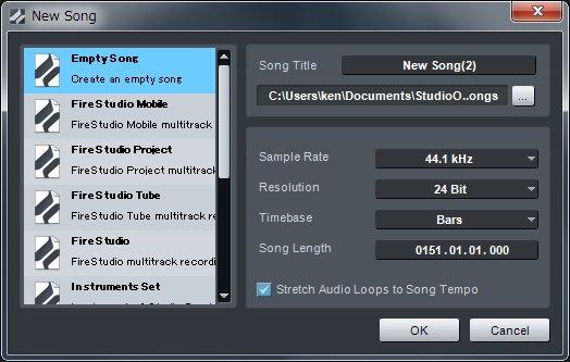 「Create a new song」からテンプレートを選択