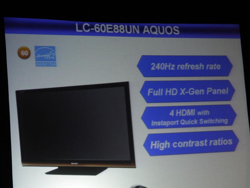 液晶テレビでは、他に小型サイズのLS510/410(左)や、4倍速パネルでHDMIが4系統の「LC-60E88UN」などを発表