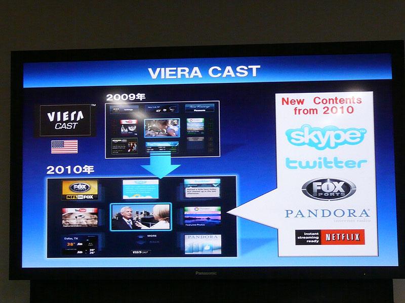 VIERA CASTが進化し、YouTubeのほかにもSkypeやTwitterにも対応