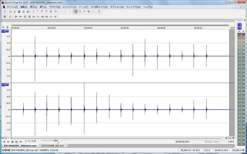 X・Yモード(左)とSTEREOモード(右)の波形の違い