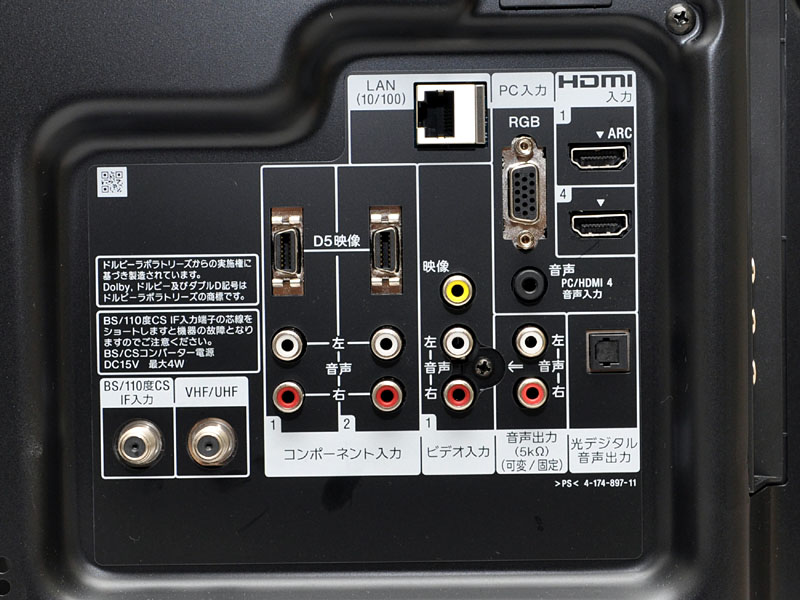 端子部。HDMI×2などを装備