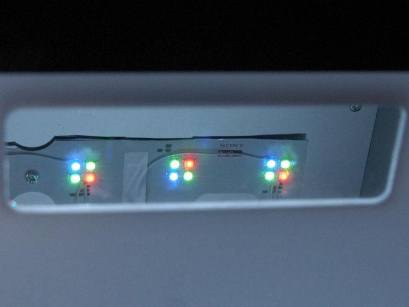 ソニーのBRAVIA XR1世代の直下型RGB-LEDバックライトシステム「トリルミナス」では、1LEDモジュールあたり赤×1、緑×2、青×1という構成となっていた