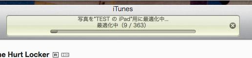 iTunesから写真を転送する際には、このような表示が出る。iPhoneでも同じような作業が行なわれるが、この際に解像度の高い写真を機器に合わせて縮小される。iPad上での表示には問題ないが、生のデータを扱うには、別の方法を採る必要がある