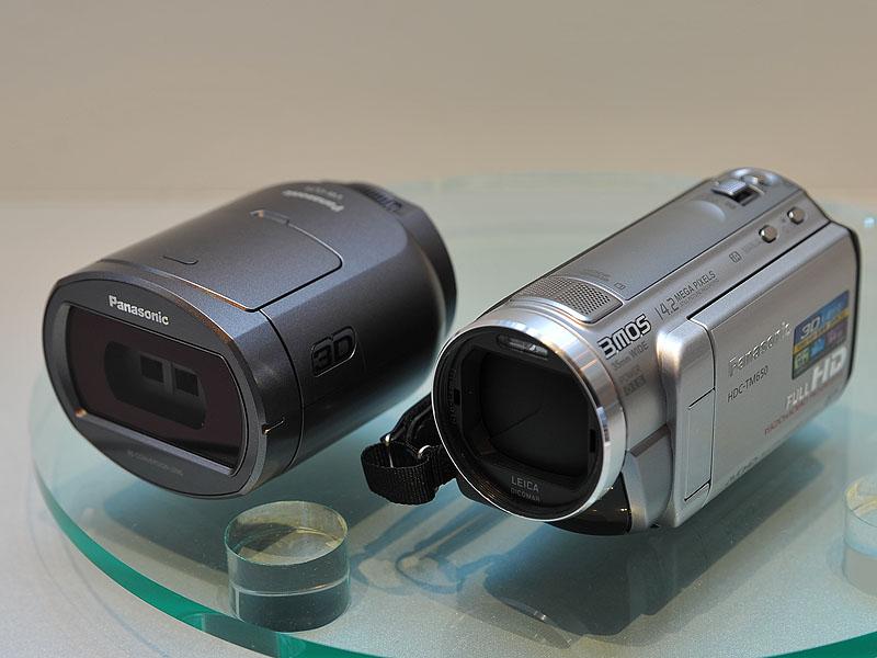 <FONT size=2>左が3Dコンバージョンレンズ。右がHDC-TM650</FONT>