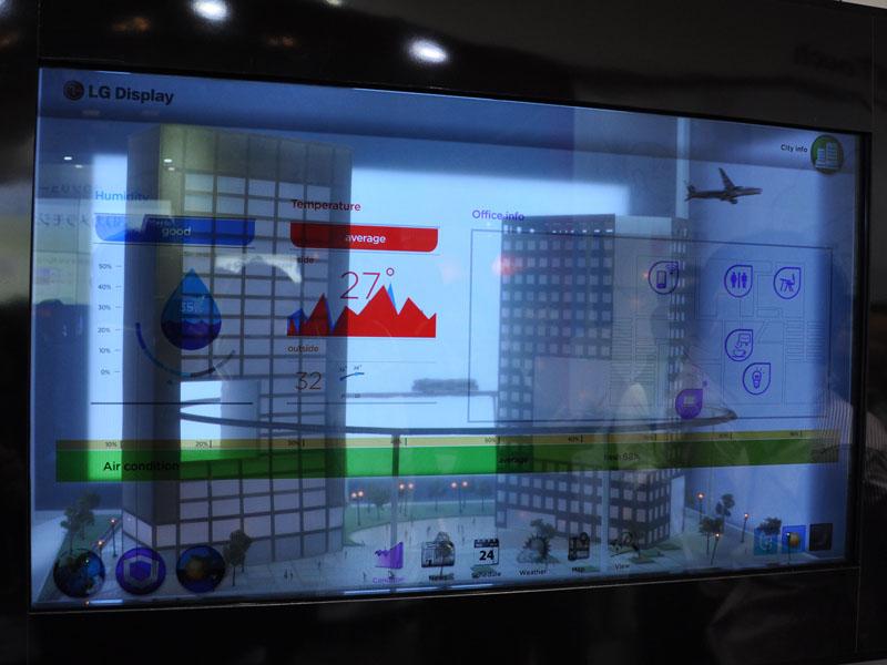 47型の透明液晶ディスプレイ。特殊なバックライト機構などで背景映像も見える画面を実現する