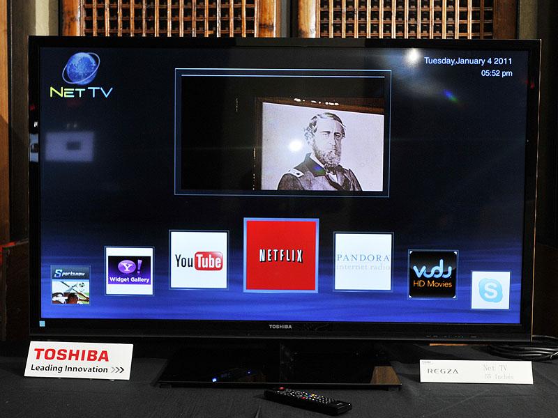 ネットTVのデモ。YouTubeやYahoo!ウィジェットとの連携を実現する