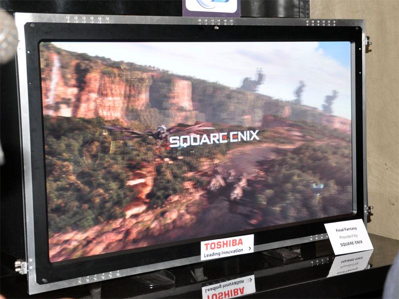 パーティ会場に展示された56型のグラスレス3Dテレビ