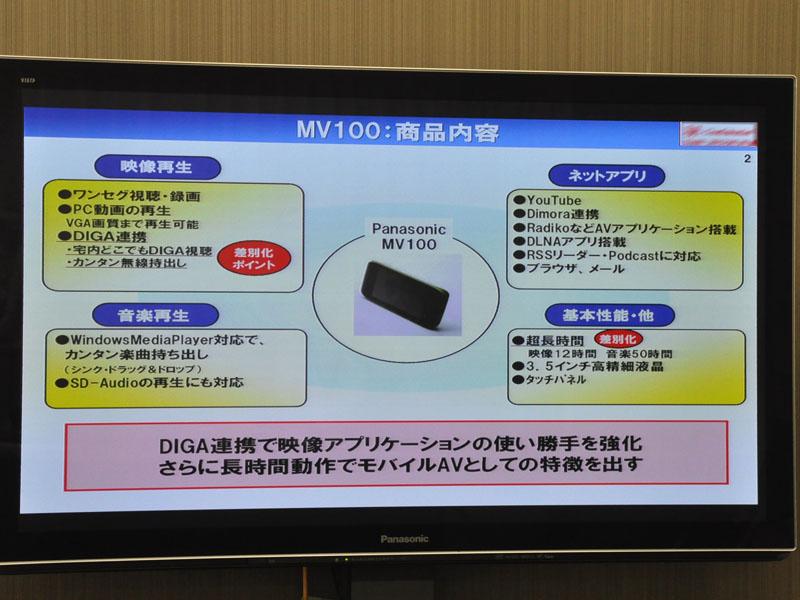 SV-MV100の主な機能
