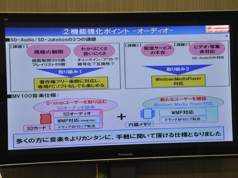 オーディオ機能の強化点。WMPやドラッグアンドドロップ転送に対応。SD-Audioも継続してサポート