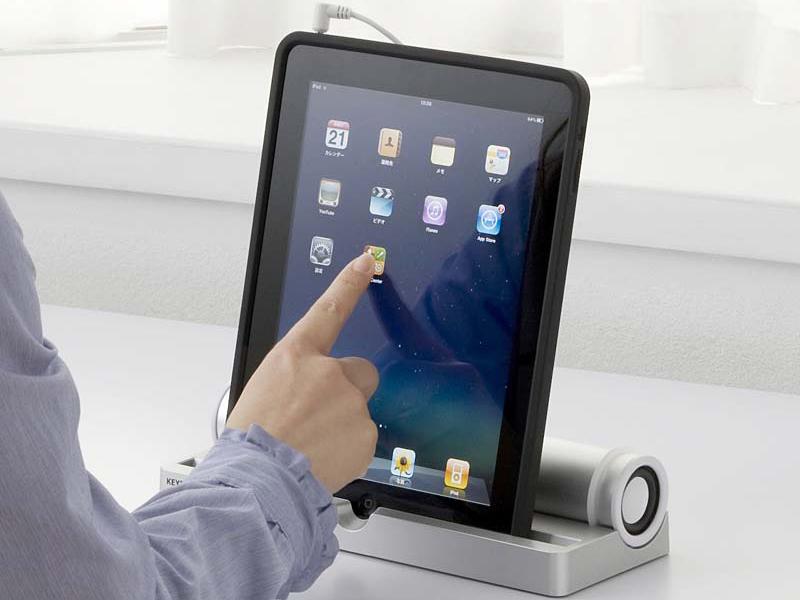 iPad縦置き時。ホームボタンも押せるようになっている