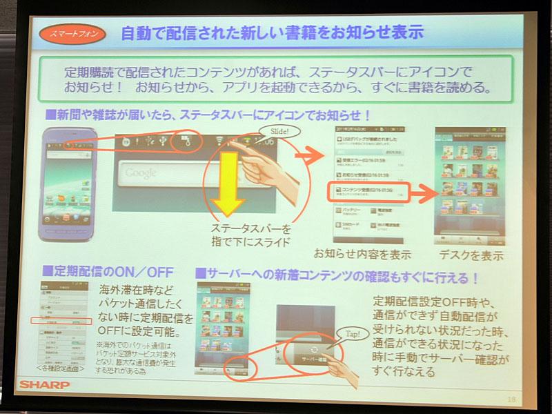 新聞や雑誌が配信されると、Androidのステータスバーにアイコンで知らせてくれる。定期配信のON/OFFも可能