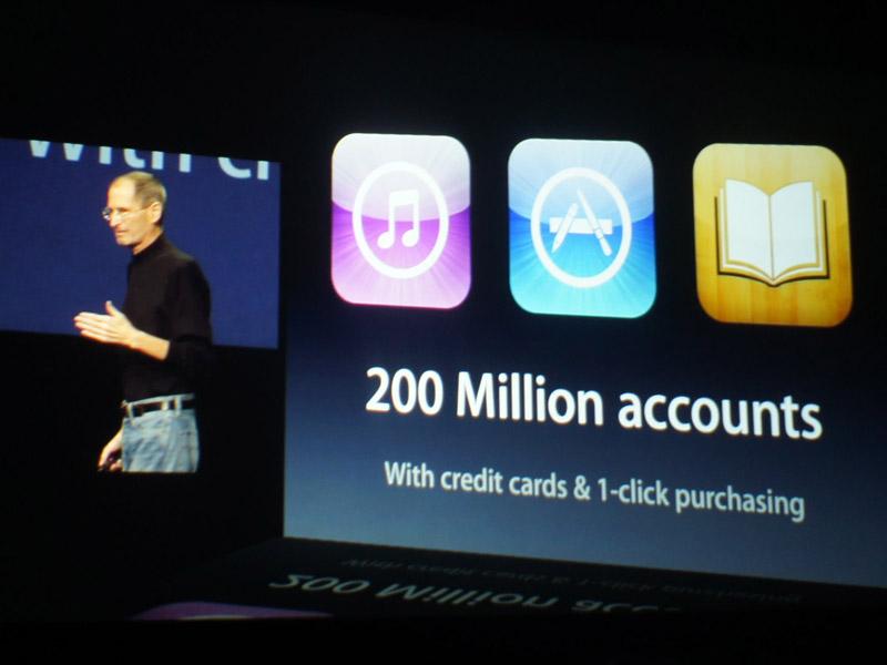 iTunes Storeのアカウントは2億に到達。「ワンクリックでクレジットカード決済できるアカウントとしては、おそらく世界最大」(ジョブズ氏)