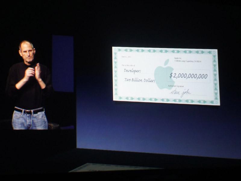 App Storeでのアプリ売上により、開発者へ支払われた売上の総額が20億ドルを突破。アプリ市場が完全に立ち上がり、大きなビジネスとなっていることを強調した