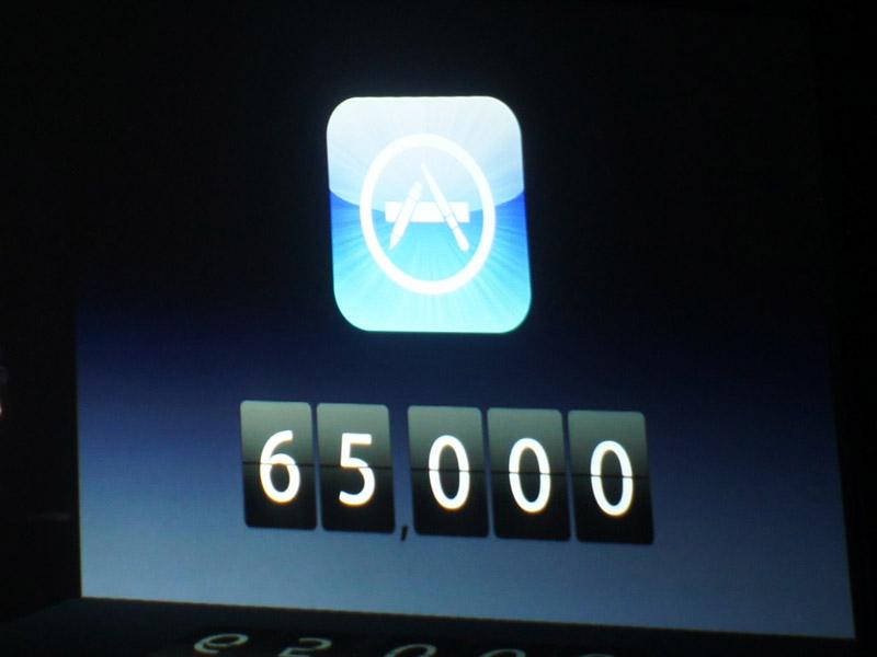 iPad専用アプリが65000本あるのに、Android3.0(Honeycomb)用は100本である、と差を強調。だが、まだ商品が出ていないHoneycombを引き合いに出すのはちょっとアンフェアでは?