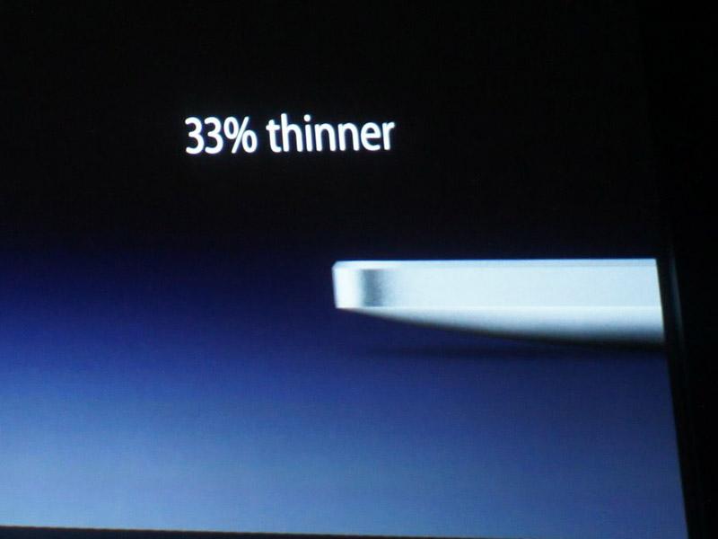 厚みはiPadに比べ33%薄くなり、重量は0.2ポンド(約90g)軽くなった