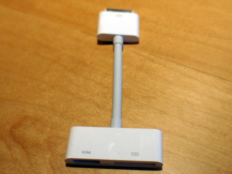 「Apple Digital AVアダプタ」。HDMIでの映像出力に対応する。アメリカでは39ドルで発売される予定。