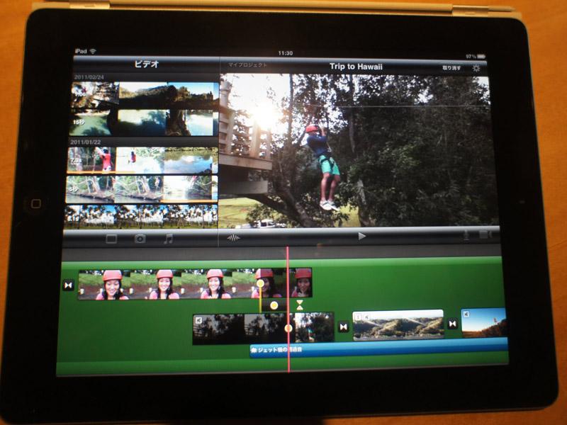 iMovieはiPad 2向けに操作性を向上させ、より本格的なビデオ編集ツールに。ただし、iPad 2内蔵カメラで撮影した映像の編集にしか対応しないところがもったいない
