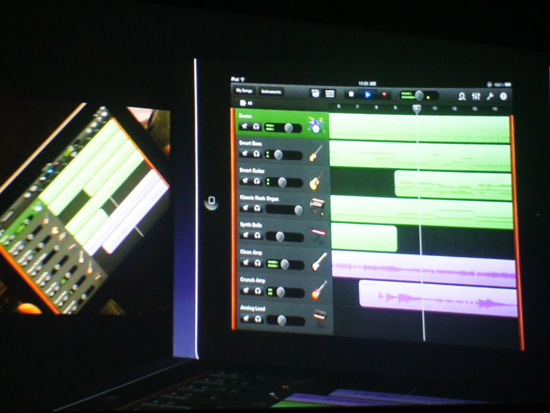 GarageBand for iPad。マック版とファイルの互換性を持つ、本格的セッション作成ツール。iPadには楽器・シンセ系のソフトが多いが、今後はこれがスタンダードであり中核になるか?