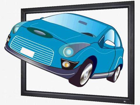 張込スクリーン「PAシリーズ」に使用した場合の3D映像投写イメージ