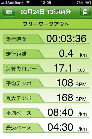 フリーワークアウトの結果の例。走行距離や消費カロリーなども表示される