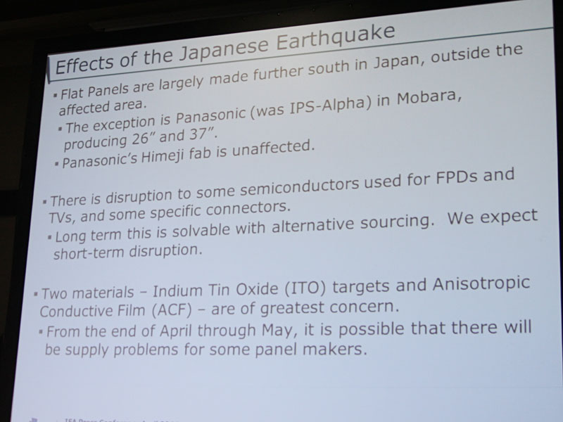 震災のパネルメーカーなどへの影響