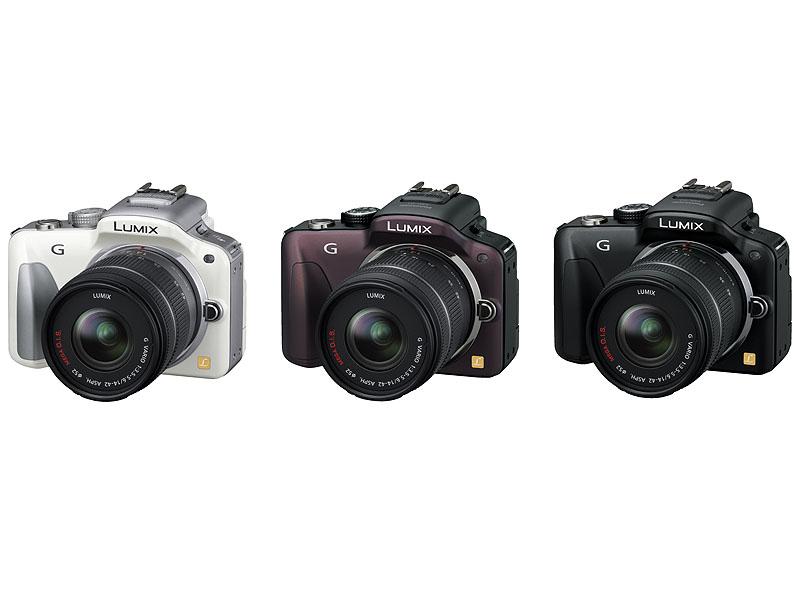 DMC-G3に、「LUMIX G VARIO 14-42mm/F3.5-5.6 ASPH./MEGA O.I.S.」を装着したところ。カラーは左からホワイト(W)、センシュアルブラウン(T)、エスプリブラック(K)