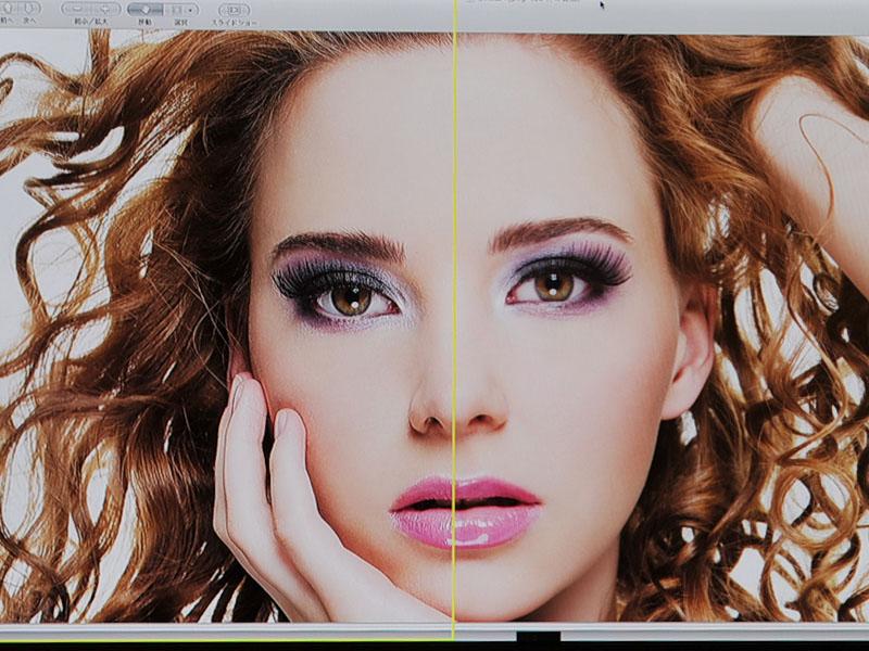 前モデルでは肌補正は入っていない。左側が前モデルの「Power Resolution」を適用したもの、右は適用前。目の周りや髪の毛などの輪郭強調が強すぎ、不自然な感じになっている