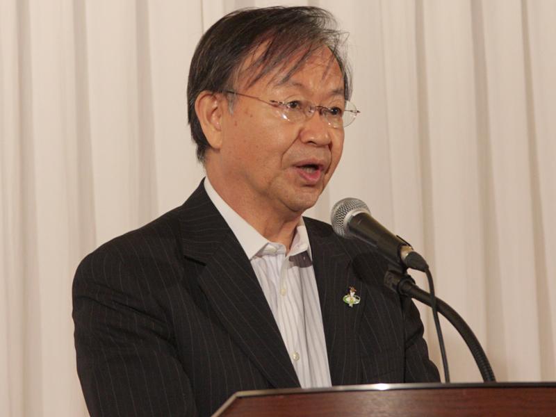 """<font size=""""2"""">NHKの小野直路副会長「24日は、ゴールではなくスタート。デジタル放送という優れたインフラの上で、どのような放送をしていくか、放送事業者に問われている。民放各社と一緒に、この課題に挑戦する」</font>"""