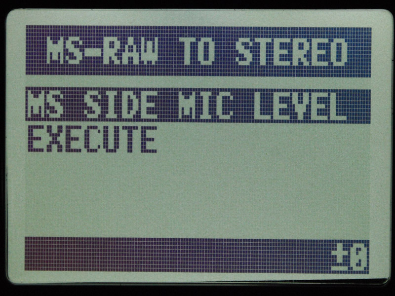 「MS SIDE MIC LEVEL」でSideマイクの音量を設定