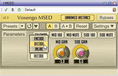 Voxengoのプラグイン「MSED」により、Midだけ、Sideだけを抽出することが可能に