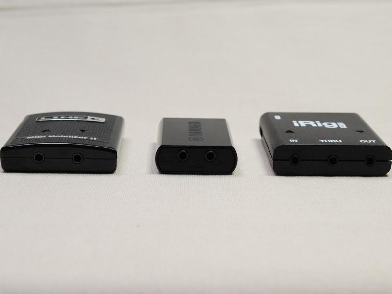 3製品の本体を比較。左からMIDI Mobilizer II、i-MX1、iRig MIDI