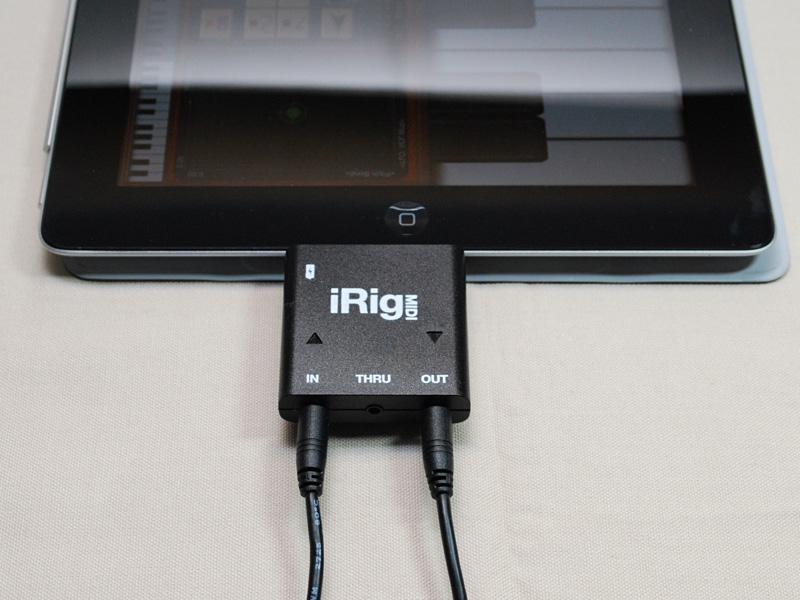 iPadと接続。左からi-MX1、MIDI Mobilizer II、iRig MIDI