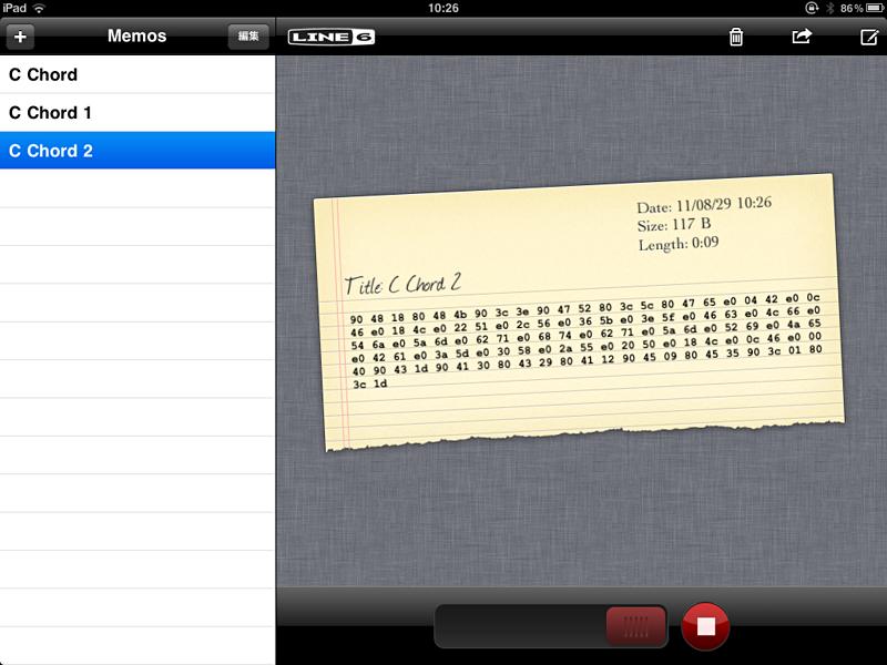 MIDI Mobilizer用のアプリ「MIDI Memo Recorder」