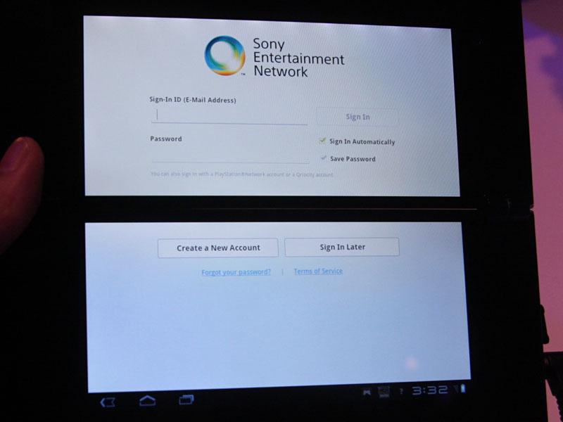 Sony TabletでのSony Entertainment Networkログイン画面