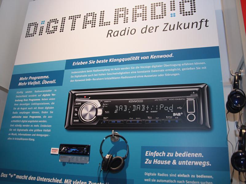 カーオーディオのコーナーでは、欧州で今後拡大が期待されるというデジタルラジオの新規格「DAB+」対応モデルなどを展示していた