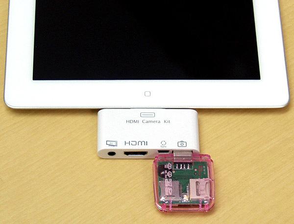 付属のUSBカードリーダーを介してiPad 2に動画などを取り込める