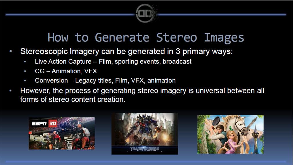 D映像を生成するには三つの方法がある。一つは3D撮影、もうひとつはCD生成、そして三つ目が2Dから3Dへの変換で、これらを適材適所で組み合わせた制作が、今後のハリウッドの主流に。日本では一部、3D変換の質が非常にに低く残念な作品もあったが、コストをかければ質の高い3D変換は可能