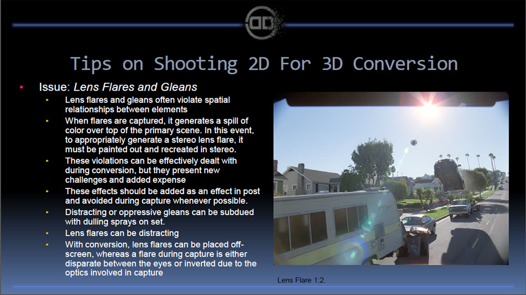 レンズ効果(フレアなど)も自然に3Dに見えるよう変換しなければならない