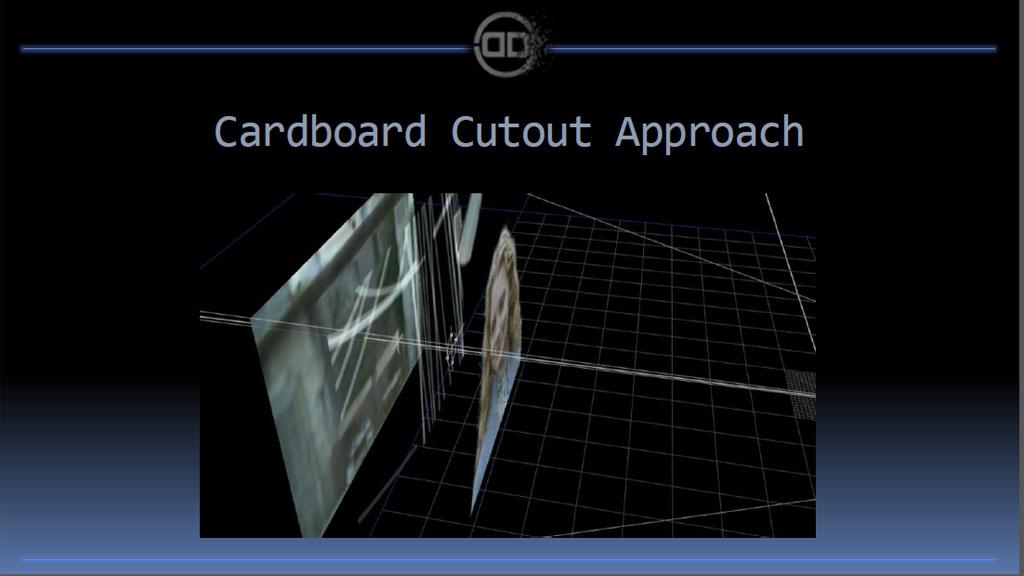 別の方法としては、2D映像を切り抜いて書き割りのように配置していく方法も。簡単だが、もちろん質は低い