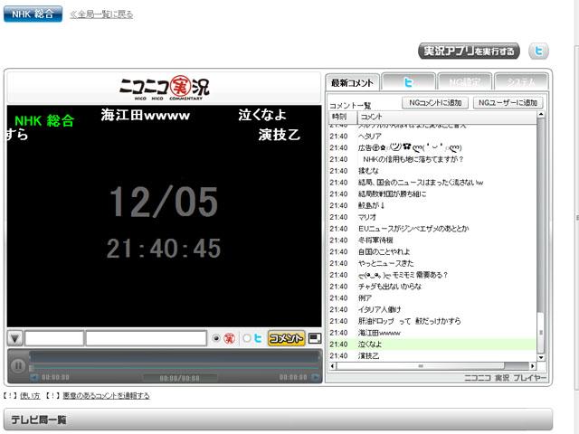 Webのニコニコ実況。画面は真っ暗で、当然テレビ放送は配信されていない