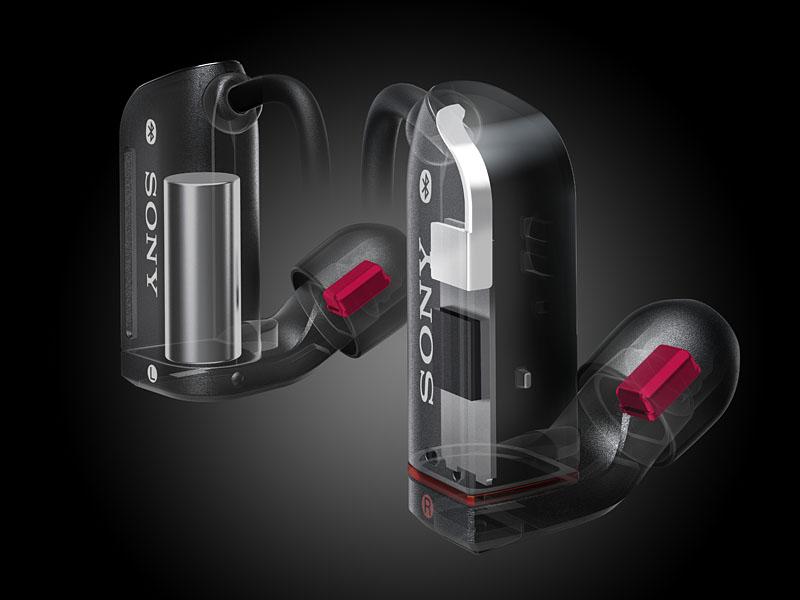 Bluetoothヘッドセット「XBA-BT75」。小型フルレンジBAユニットを採用した事で、その他のパーツを内蔵するスペースが生まれた。Bluetoothボックスは無いが、ケーブルに小さなボリュームコントローラーは備えている