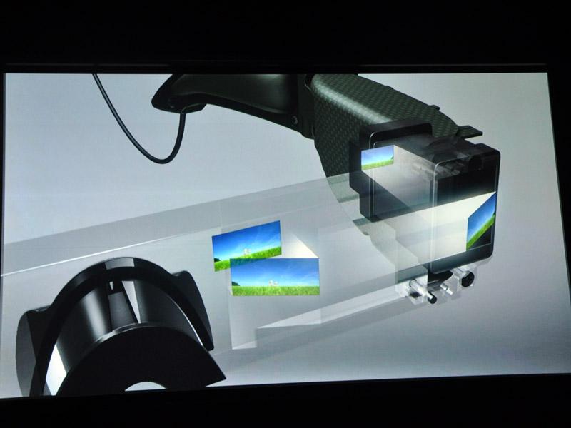 投射映像をプリズムで2回反射させる