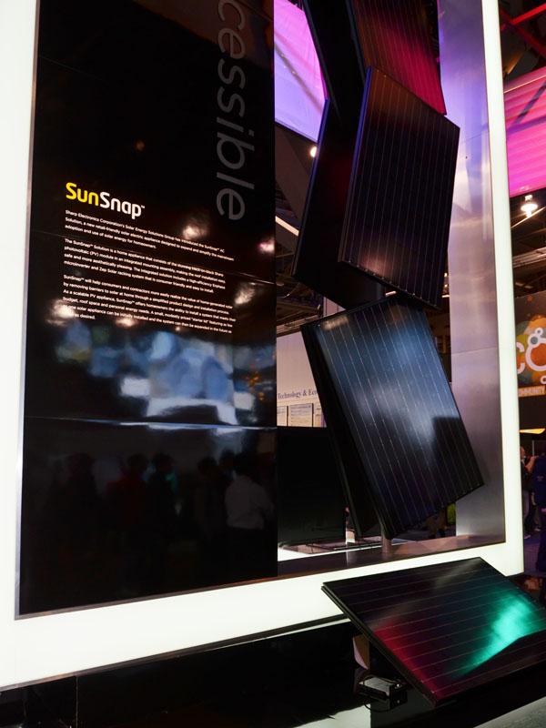北米向けの個人向け太陽光発電モジュール「SunSnap」。キャッチコピーは「最小構成で1000ドルから自宅にソーラー発電を設置できる」