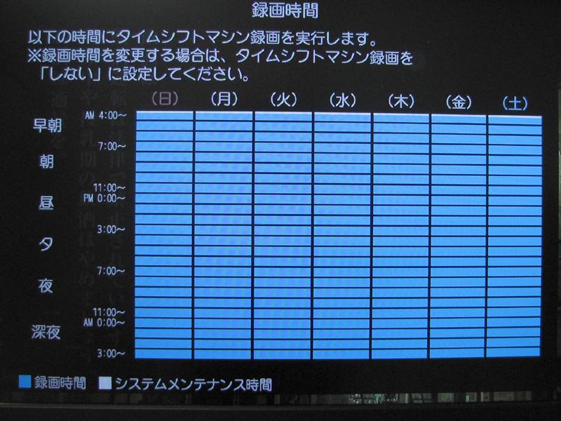 録画時間帯の設定。4TBものHDDを搭載するのだから、ここはやっぱり24時間・毎日録画を選びたい