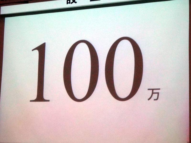出版デジタル機構の会見で掲げられた「100万」という数字。同社が5年間で電子化しようとしている書籍のタイトル数である