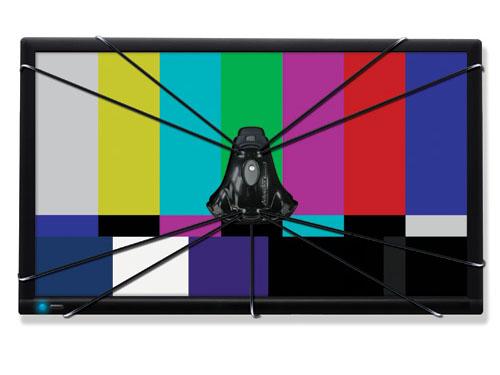 センサーをテレビの前に固定して、テストパターンを表示。プロジェクタでは三脚などにセンサーを設置する