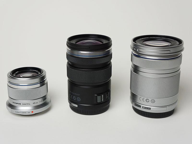 左からポートレート単焦点「45mm/F1.8」、キットレンズ「12-50mm/F3.5-6.3」、望遠ズーム「40-150mm/F4-5.6」